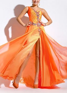 Amazing Chiffon & Stretch Satin A-line One Shoulder Neckline Ruched Prom Dress With Beadings