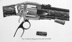 Needham and Atkinson 1881 rifle Manufactured by Needham&Sons c.1880′s in England. .450 Needham centerfire proprietary cartridge, ~16-round tubular magazine, lever action with two-chamber cylinder elevator and automatic extractor on each cycle.