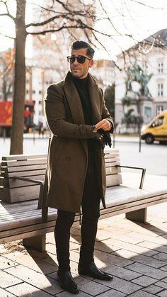 mens -Outfit mens - 24 Winter Outfit Street Style for Men Trend > Fashion Lapel Collar Plain Button Packets Long Coat Mens Casual Lapel Plain Loose Khaki Woolen Long Coat – okrobe Luigi Lauro ( Stylish Casual Outfits For Men, Winter Outfits Men, Men Casual, Guy Outfits, Trendy Outfits, Fall Outfits, Fashion Outfits, Herren Winter, Herren Style