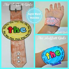 Sight Word Watches! Kids get to color, cut and WEAR a sight word watch!  What a FUN and effective way to learn this tricky sight words!