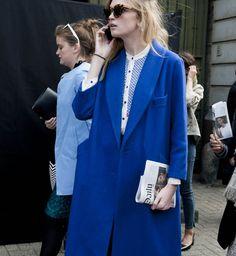 Klein blue coat, London Fashion Week spring summer 2014 - Cosmopolitan.fr @Shelley Parker Herke Relue this reminds me of your $5 grab bag coat!
