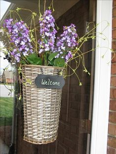 Welcome your guests in style  from www.imagine.willowhouse.com.  Fill your Willow Welcome Basket with bright, Spring Flowers to create a beautiful front door!