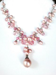 Bridal lovely light pink crystal & pink pearl by LaLaCrystal, $38.00