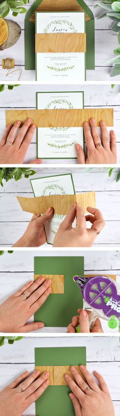 Real wood paper, perfect for rustic wedding invitations! Available in full sheets, envelope liners, belly bands, and invitation mats. Easy and cheap to DIY | http://blog.cardsandpockets.com/2017/05/05/4-ways-to-diy-rustic-wedding-invitations-with-wood-paper/