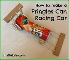 Upcycle by reusing a chip can and turn it into a racing car! #DIY