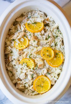 Warm Comforting Bistro Slow Cooker Chicken and Rice on ASpicyPerspective.com
