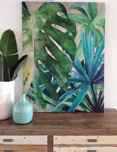 What is Your Painting Style? How do you find your own painting style? What is your painting style? Flower Crafts, Flower Art, Flower Ideas, Diy Flowers, Deco Jungle, Green Wall Art, Tropical Art, Tropical Plants, Tropical Paintings