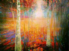 Mark Gould, Finding My Path: Arcadian acrylic, 48 x - Southwest Art Magazine Landscape Artwork, Watercolor Landscape, Abstract Landscape, Abstract Art, Nature Paintings, Beautiful Paintings, Sunset Paintings, Acrylic Paintings, Original Paintings