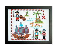 Cute Pirates Cross Stitch Pattern Instant от tinymodernist на Etsy