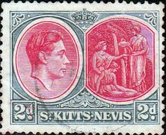 1938 St Kitts - Nevis King George VI SG 711 Fine Used SG 71 Scott 82 Other Old Postage stamps here