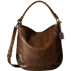 Frye Melissa Hobo (Dark Brown Antique Pull Up) Hobo Handbags (1.225 BRL) ❤ liked on Polyvore featuring bags, handbags, shoulder bags, hand bags, shoulder strap handbags, brown leather shoulder bag, brown leather handbags and man leather shoulder bag