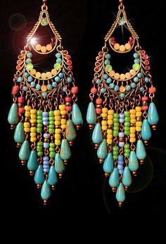 Long colorful beaded chandelier earrings silver gold or by kerala genuine turquoise magnesite gemstone beaded chandelier earrings large ethnic native inspired mto mozeypictures Choice Image