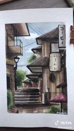Watercolor Art Lessons, Watercolor Paintings, Japan Watercolor, Architecture Drawing Sketchbooks, Japanese Painting, Cool Art Drawings, Diy Canvas Art, Gouache, Watercolor Illustration