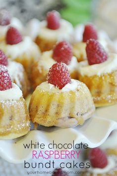 White Chocolate and Raspberry Individual Mini Bundt Cakes Dessert Recipe - perfect for your Valentine's Day Party! (mini desserts for party) Mini Desserts, Dessert Cake Recipes, Just Desserts, Delicious Desserts, Mini Bunt Cake Recipes, Mini Bundt Cake, Flan Dessert, Easter Desserts, Strawberry Desserts