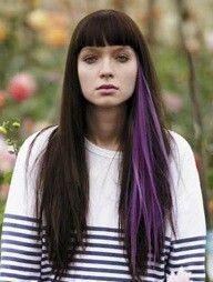 Pop of purple color under dark hair - single streak (mine would be pink).