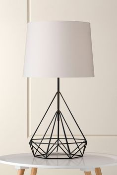 1129 Rocker Black Wire Geometric Table Lamp