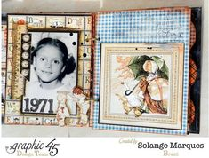 Mixed Media Album using Graphic 45 An ABC Primer collection by Solange #graphic45
