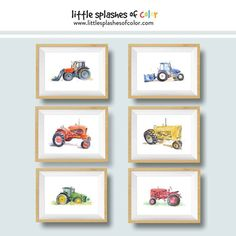 Delight someone who loves rustic decor with this red tractor wall art print from an original painting. Perfect for adults and kids room decor. Come see the many tractor prints at Little Splashes of Color! Boys Tractor Bedroom, Tractor Nursery, Tractor Room, Tractor Decor, Farm Bedroom, Farm Nursery, Boys Bedroom Decor, Bedroom Themes, Nursery Wall Art