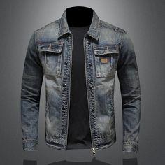 Denim Jacket Men Spring Autumn New Style Personality Jean Jacket Man Lapel Zipper Coat Fire And Stone, Denim Jacket Men, Types Of Collars, Vintage Denim, Blue Denim, Types Of Sleeves, Coat, Casual, Jackets