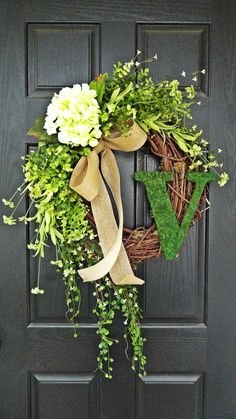 """Smaller Version of The """"Louisa"""" Wreath :) Intricate Designed Summer Wreath, French Country Wreath, With Moss, Burlap and Hydrangeas"""