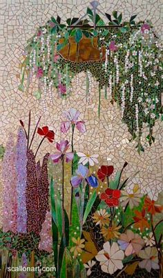 ScallonArt - available mosaic pieces - hanging plant mural Mosaic Artwork, Mosaic Wall Art, Tile Art, Mosaic Mirrors, Mosaic Garden Art, Mosaic Crafts, Mosaic Projects, Stained Glass Art, Mosaic Glass