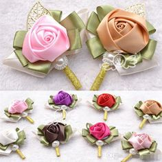 Wedding Corsage Hand Made Artificial Beads Pearls Silk Rose Crystal Bouquet Bride Bridesmaid Bridal Decoration Accessories 8 Colors