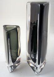 Triangular Art Glass Vases, Nils Landberg, Orrefors