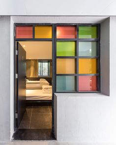 """Youth Hotel of iD Town by O-office Architects """"Location: Shenzhen, Guangdong, China"""" 2014 Interior Desing, Interior Exterior, Wood Windows, Windows And Doors, Door Dividers, Student House, Commercial Architecture, Dormitory, Asian"""
