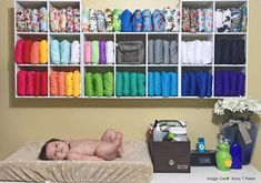 Storage cubes for a large stash of cloth diapers