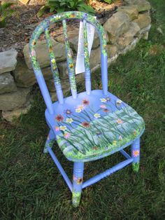 RESCUED CHAIRS -- Child Chairs, RESCUED CHAIRS are handpainted, whimsical chairs that have been rescued from yard sales, flea markets, auctions, and old barns., Periwinkle Daisy Child Chair , Home Decor Project