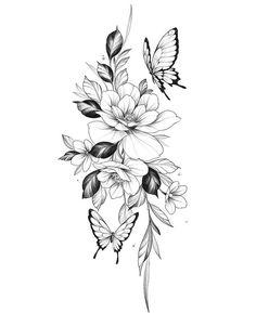 Bild Tattoos, Dope Tattoos, Leg Tattoos, Body Art Tattoos, Small Tattoos, Sleeve Tattoos, Tattos, Floral Back Tattoos, Floral Tattoo Design