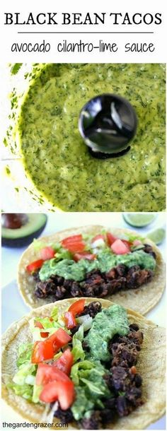 Black bean tacos with avocado cilantro-lime sauce (vegan, gluten-free). Simple, healthy, and ready in 15 minutes!
