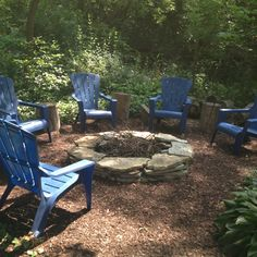 like the flat stones for making a fire pit, also tree stumps/logs for small tables or seating