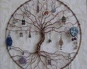 Earring Tree, Copper Tree of life, wall hanging, wall art, earring holder, jewelry tree, organize and display, earring display. $125.00, via Etsy.