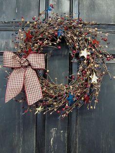 Americana Home Decor - Patriotic Metal Star Pip Berry Wreath - Americana Wreath - Primitive Wreaths - Patriotic Home Decor//Etsy Patriotic Wreath, Patriotic Crafts, Patriotic Decorations, July Crafts, Home Crafts, Americana Home Decor, Americana Crafts, Primitive Wreath, Primitive Crafts