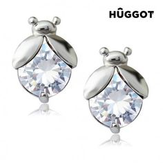 We present the Hûggot Ladybug Rhodium-Plated Earrings with Zircons from the new collection of [[b] Hûggot jewellery! A wide range of rings, bracelets, earrings, Cute Stud Earrings, Unique Earrings, Stone Earrings, Women's Earrings, Jewelry Shop, Jewelry Gifts, Jewelry Design, Fashion Jewelry, Cz Jewellery