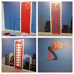 Spider-Man room Red blue kids