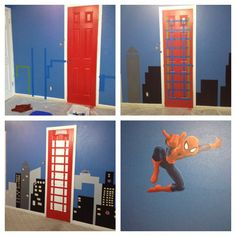 Spider-Man room Red blue kids