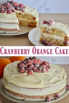 Cranberry Orange Spice Cake is made with a fresh cranberries, oranges, and a has a delicious cream cheese frosting. Sugared cranberries top this easy to make cake that's perfect for the holidays. #cranberryorangecake #cranberrycake Cake Recipes For Kids, Baking Recipes, Cookie Recipes, Dessert Recipes, Brunch Recipes, Cranberry Orange Cake, Keto Friendly Desserts, Cool Birthday Cakes, Spice Cake