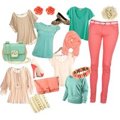 coral pants options, created by eaphelon on Polyvore... Not feeling all of it but it definitely gives me some ideas.