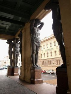 Atlantes Caryatids, Hermitage Museum, St. Petersburg. Russia.