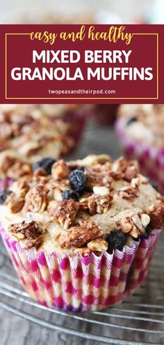 Celebrate back to school season with a special treat! You can easily whip up these Mixed Berry Granola Muffins in the morning or make a batch ahead of time for freezing. Kids will love this healthy and delicious breakfast idea on the first day of school! Save this pin! Healthy Muffin Recipes, Fun Easy Recipes, Healthy Muffins, Yummy Recipes, Biscuit Muffin Recipe, Baking Recipes, Snack Recipes, Dessert Recipes, Desert Recipes