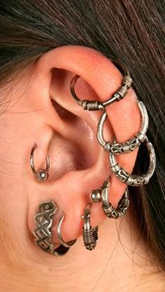 Unusual Multiple Ear Piercing Ideas at MyBodiArt.com - Antiqued Brass Cartilage Helix Hoop Rings Earrings