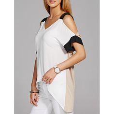 Stylish Short Sleeve V-Neck Asymmetric Women's Blouse   TwinkleDeals.com