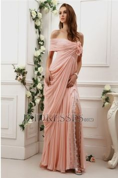 Sheath/Column Off-the-shoulder Chiffon Evening Dresses at IZIDRESSES.com