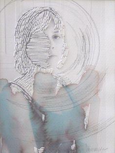 Heather Sincavage; photo on watercolor paper, embroidery thread, graphite, tea