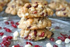 WHITE CHOCOLATE CHIP CRANBERRY OATMEAL COOKIES White Chocolate Cranberry Cookies, White Chocolate Macadamia, Chocolate Chunk Cookies, White Chocolate Chips, Chocolate Oatmeal, Favorite Cookie Recipe, Chip Cookie Recipe, Cookie Recipes, Dessert Recipes