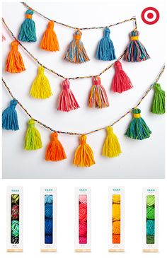 Create strands of multicolor tassels and much more with yarn.