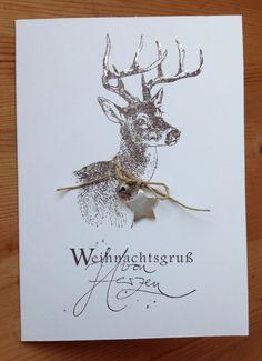 Die schlichte Karte: Weihnachtskarte mit Hirsch Stempel Alexandra Renke…