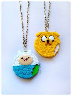 MADE TO ORDER Super Cute Adventure Time Oreo Necklaces by momomony